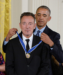 US President Barack Obama presents singer Bruce Springsteen with the Presidential Medal of Freedom, the nation's highest civilian honor, during a ceremony honoring 21 recipients, in the East Room of the White House in Washington, DC, November 22, 2016. Photo by Olivier Douliery/ABACA