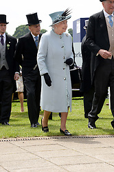 HM The QUEEN and the DUKE OF EDINBURGH at the Investec Derby 2013 held at Epsom Racecourse, Epsom, Surrey on 1st June 2013.
