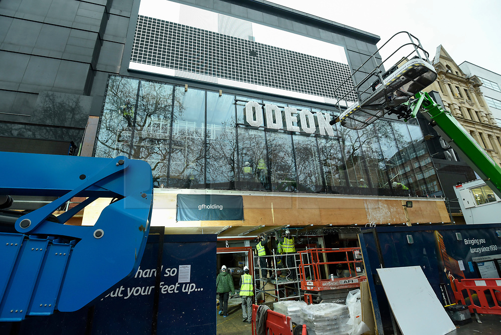 © Licensed to London News Pictures. 05/12/2018. LONDON, UK. Renovation of the Odeon cinema in Leicester Square continues ahead of its re-opening on 21 December.   The owners have invested in an enhanced sound system and reclining seating but are facing criticism of their differential ticket pricing, which can reach in excess of £40 per adult ticket.  Photo credit: Stephen Chung/LNP