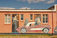 Historic Route 66, Tucumcari, New Mexico, mural, Lauren Bacall, Clark Gable, Marilyn Monroe, 1956 Chevrolet Corvette, Blue Swallow Motel