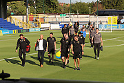 Milton Keynes Dons and Milton Keynes Dons manager Paul Tisdale arriving during the EFL Cup match between AFC Wimbledon and Milton Keynes Dons at the Cherry Red Records Stadium, Kingston, England on 13 August 2019.