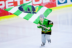 01.02.2014, Hala Tivoli, Ljubljana, SLO, EBEL, HDD Telemach Olimpija Ljubljana vs SAPA Fehervar AV19, 6. Plazierungsrunde, in picture Young players of HDD Telemach Olimpija with flag during the Erste Bank Icehockey League 6th Placing round between HDD Telemach Olimpija Ljubljana and SAPA Fehervar AV19 at the Hala Tivoli, Ljubljana, Slovenia on 2014/02/01. Photo by Urban Urbanc/ Sportida