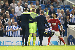 David Stockdale of Brighton & Hove Albion is taken of injured - Mandatory by-line: Jason Brown/JMP - 12/08/2016 - FOOTBALL - Amex Stadium - Brighton, England - Brighton & Hove Albion v Nottingham Forest - Sky Bet Championship