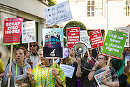 21 May 2015 - End zero hours contracts protest at Grosvenor House Hotel.