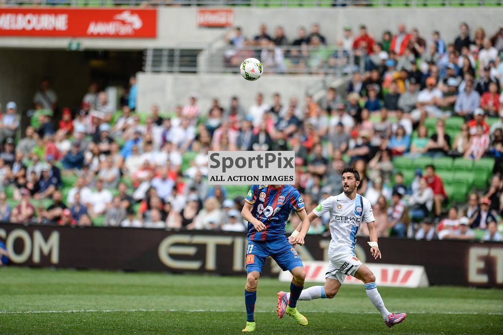 Andrew Hoole (NUJ) Mark Birighitti (GK) Robbie Wielaert (MBC) bThe Hyundai A-League match between Melbourne City &amp; Newcastle Jets held at AAMI Park, Melbourne, Victoria on 19th October 2014.<br /> MARK AVELLINO | SportPix.org.uk