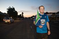 Eddie Izzard running his 8th marathon in 8 days, near Craddock on the Eastern Cape, for Sport Relief 2016