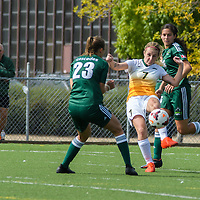 3rd year forward Brianna Wright (7) of the Regina Cougars makes a play during the Women's Soccer Homeopener on September 10 at U of R Field. Credit: Arthur Ward/Arthur Images