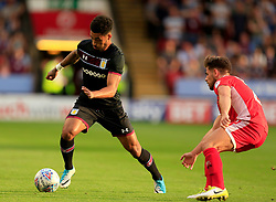 Andre Green of Aston Villa ghosts past Flo Cuvelier of Walsall - Mandatory by-line: Paul Roberts/JMP - 18/07/2017 - FOOTBALL - Bescot Stadium - Walsall, England - Walsall v Aston Villa -  Pre-season friendly