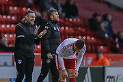 Oldham Athletic Manager David Dunn  during the The FA Cup match between Sheffield Utd and Oldham Athletic at Bramall Lane, Sheffield, England on 5 December 2015. Photo by Simon Davies.