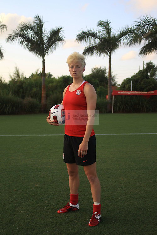 WEST PALM BEACH, FL - MAY 2:  Megan Rapinoe of the US Women's Soccer team trains in West Palm Beach, Florida on May 2, 2011.  (Photo by Jed Jacobsohn)