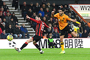 Raul Jimenez (9) of Wolverhampton Wanderers shoots at goal during the Premier League match between Bournemouth and Wolverhampton Wanderers at the Vitality Stadium, Bournemouth, England on 23 November 2019.