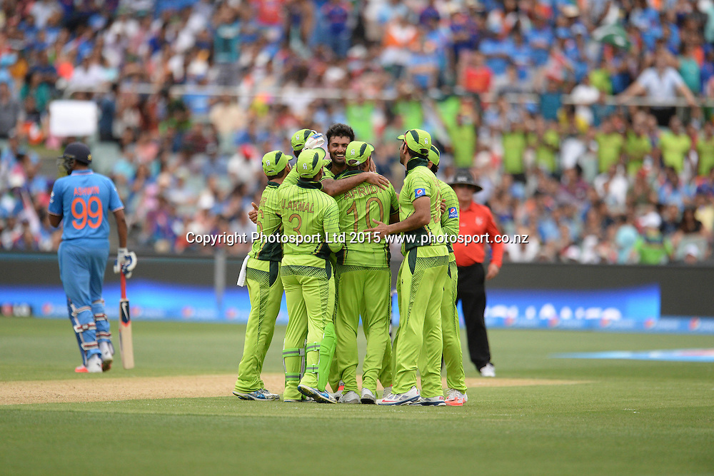 Pakistan bowler Haris Sohail celebrates his five for during the ICC Cricket World Cup match between India and Pakistan at Adelaide Oval in Adelaide, Australia. Sunday 15 February 2015. Copyright Photo: Raghavan Venugopal / www.photosport.co.nz