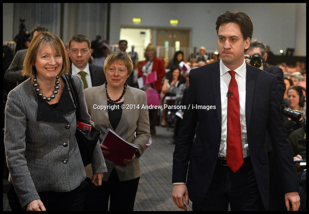 The Leader of the Labour Party Ed Miliband with Labour deputy leader, Harriet Harman, at the Labour Party Special Conference being held at the Excel Centre. London, United Kingdom. Saturday, 1st March 2014. Picture by Andrew Parsons / i-Images
