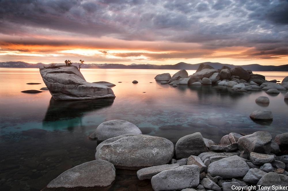 """Bonsai Rock Sunset 7"" - A landscape photograph of sunset over Lake Tahoe taken at Bonsai Rock"