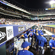 NEW YORK, NEW YORK - July 02: Ben Zobrist #18 of the Chicago Cubs is congratulated by team mates in the dugout during the Chicago Cubs Vs New York Mets regular season MLB game at Citi Field on July 02, 2016 in New York City. (Photo by Tim Clayton/Corbis via Getty Images)