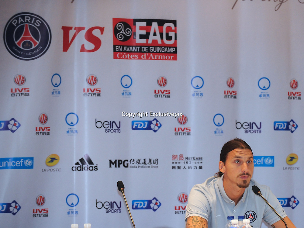 BEIJING, CHINA - AUGUST 01: (CHINA OUT) <br /> <br /> Paris Saint-Germain Press Conference In Beijing<br /> <br /> Zlatan Ibrahimovic of Paris Saint-Germain attends a press conference ahead of the French Super Cup football match against Guingamp at the Workers Stadium on August 1, 2014 in Beijing, China. <br /> &copy;Exclusivepix