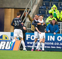 Falkirk's Conor McGrandles cele scoring their goal.<br /> Half time : Falkirk 1 v 0 Dundee, Scottish Championship game at The Falkirk Stadium.<br /> &copy; Michael Schofield.