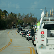 MARATHON, FL - SEPTEMBER 16: <br /> Traffic heading to a checkpoint to access the Florida Keys on September 16, 2017 in Marathon, Florida.  (Photo by Angel Valentin/Getty Images)
