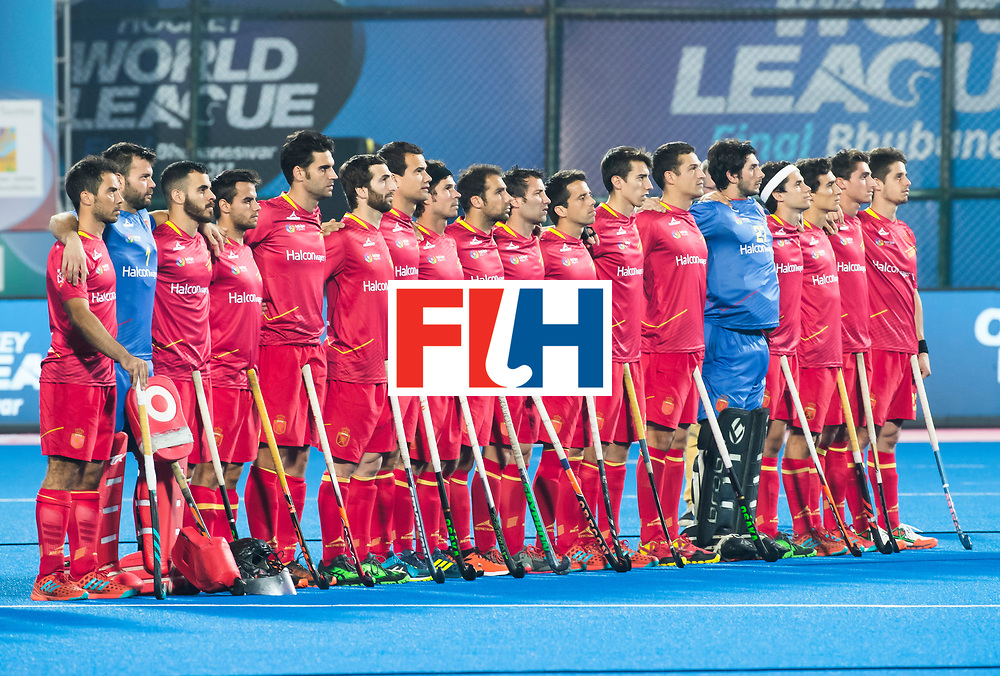 BHUBANESWAR -  Line up Spain. Hockey World League finals , Quarter Finals . Australia v Spanje .  .  COPYRIGHT KOEN SUYK