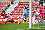 Bolton Wanderers Forward, Keshi Anderson (11) shot is saved by Swindon Town Goalkeeper, Lawrence Vigouroux (1) during the EFL Sky Bet League 1 match between Swindon Town and Bolton Wanderers at the County Ground, Swindon, England on 8 October 2016. Photo by Adam Rivers.