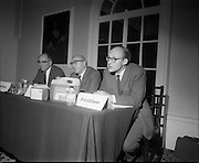 17/07/1970<br /> 17/07/1970<br /> 07/17/1970<br /> 17 July 1970<br /> I.C.I. Press Conference regarding Paraquat weedkiller at the Royal Hibernian Hotel, Dublin. The conference was part of a campaign, in consultation with the Department of Health, to warn the public of the dangers of decanting the weedkiller into other containers such as unlabelled bottles. This had been the cause of a number of deaths over the previous 8 years as people mistook the chemical for beer, whiskey or cordial. The company planned to write to all 267,000 farmers in the Republic to warn of the dangers of the practice. Image shows Dr. A.A. Swan, Director, I.C.I. Industrial Hygiene Laboratories speaking at the event. Also in the picture are Dr. W.R. Boon (left) Joint Managing Director, Plant Protection Ltd. and Mr Stanley Magee (centre) Manager Agro-chemicals Division, I.C.I (Ireland) Ltd.