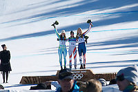 Day 9 of the Vancouver 2010 Winter Olympics. Women's Super G at Whistler Creekside...1.  Andrea Fischbacher 1:20.14 .2.  Tina Maze 1:20.63 .3.  Lindsey Vonn 1:20.88