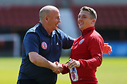 Accrington Stanley  manager John Coleman and  Accrington Stanley  Scott Brown (8) share a joke before the EFL Sky Bet League 2 match between Swindon Town and Accrington Stanley at the County Ground, Swindon, England on 5 May 2018. Picture by Gary Learmonth.