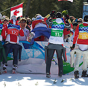 Winter Olympics, Vancouver, 2010.Austria and Germany celebrate their medal wins in the Ski Jumping Team final event at Whistler Olympic Park , Whistler, during the Vancouver Winter Olympics. 22nd February 2010. Photo Tim Clayton