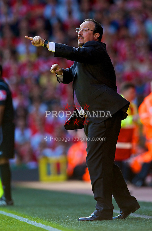 LIVERPOOL, ENGLAND - Saturday, September 12, 2009: Liverpool's manager Rafael Benitez during the Premiership match against Burnley at Anfield. (Photo by David Rawcliffe/Propaganda)