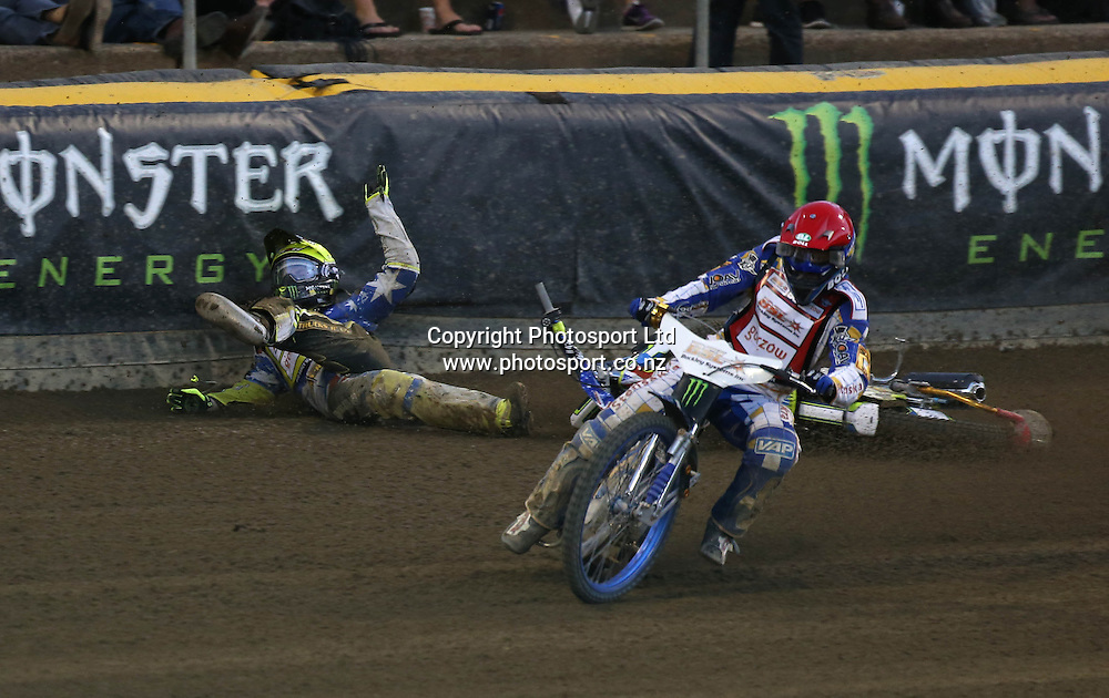 Darcy Ward (Australia) crashes hard into the wallduring the 2014 New Zealand FIM Speedway Grand Prix held at Western Springs, Auckland, New Zealand on Saturday 5th April 2014<br /> Credit; Peter Meecham/ www.photosport.co.nz
