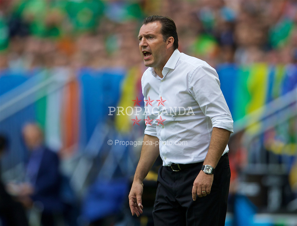 BORDEAUX, FRANCE - Saturday, June 18, 2016: Belgium manager Marc Wilmots during the UEFA Euro 2016 Championship Group E match against the Republic of Ireland at Stade de Bordeaux. (Pic by Paul Greenwood/Propaganda)