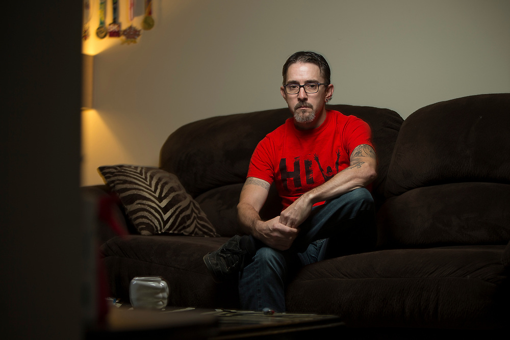 London, Ontario ---2017-09-03--- Chad Clarke, who was imprisoned for aggravated sexual assault for failing to disclose his HIV status, sits in his apartment in London, Ontario, September 3, 2017.<br /> GEOFF ROBINS Toronto Star