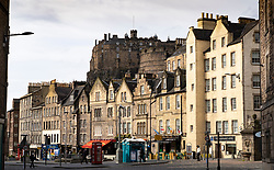View of old tenement buildings and Edinburgh Castle from the Grassmarket in Edinburgh Old Town, Scotland ,UK