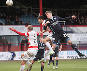 Dundee's Jim McAlister comes close with a header -  Dundee v Hamilton Academical, SPFL Premiership at Dens Park <br /> <br /> <br />  - &copy; David Young - www.davidyoungphoto.co.uk - email: davidyoungphoto@gmail.com
