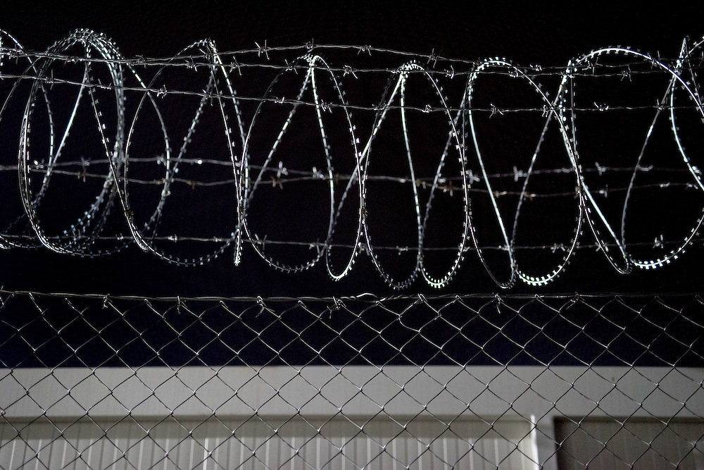 The razor wire on the Greek - FYR Macedonian border. <br /> <br /> Thousands of refugees are stranded in Idomeni unable to cross the border. The facilities are stretched to the limit and the conditions are appalling.