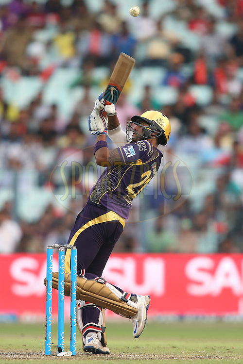 Suryakumar Yadav of Kolkata Knight Riders plays a delivery over the keepers head during match 55 of the Vivo Indian Premier League (IPL) 2016 between the Kolkata Knight Riders and the Sunrisers Hyderabad held at the Eden Gardens Stadium in Kolkata on the 22nd May 2016<br /> <br /> Photo by Shaun Roy / IPL/ SPORTZPICS