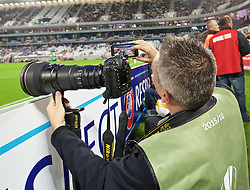 BORDEAUX, FRANCE - Thursday, September 17, 2015: Liverpool Echo photographer Jason Roberts takes a selfie during the UEFA Europa League Group Stage Group B match between FC Girondins de Bordeaux and Liverpool at the Nouveau Stade de Bordeaux. (Pic by David Rawcliffe/Propaganda)