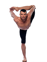 caucasian Man yoga asanas natarajasana dancer pose gymnastic  stretching acrobatics isolated studio on white background