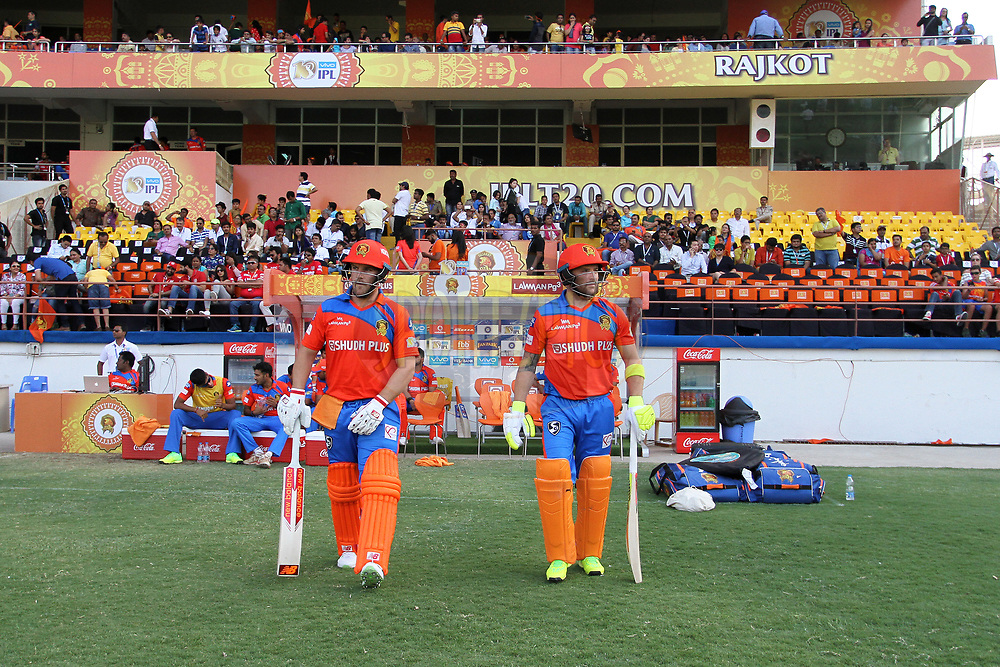 Aaron Finch of the Gujarat Lions and Brendon McCullum of the Gujarat Lions arrive on the ground for the start of the 2nd innings during match 26 of the Vivo 2017 Indian Premier League between the Gujarat Lions and the Kings XI Punjab held at the Saurashtra Cricket Association Stadium in Rajkot, India on the 23rd April 2017<br /> <br /> Photo by Vipin Pawar - Sportzpics - IPL