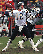San Diego Charger quarterback Stan Humphries (12) during game action against the Kansas City Chiefs at Arrowhead Stadium in Kansas City, Missouri on November 13, 1994.