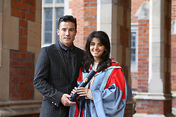 Image ©Licensed to i-Images Picture Agency. 05/07/2014. Northern Ireland, . Singer Katie Melua with her husband James Toseland pose for a photograph after Graduation at Queen's University Belfast. Picture by i-Images