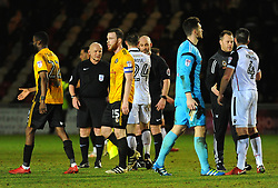 Newport County and Morecambe players shake hands at the full time whistle - Mandatory by-line: Nizaam Jones/JMP- 23/01/2018 - FOOTBALL - Rodney Parade - Newport, Wales- Newport County v Morecambe - Sky Bet League Two