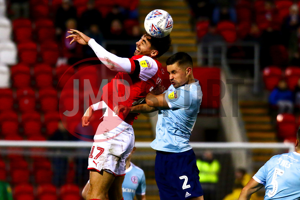 Matt Crooks of Rotherham United gets a head to the ball - Mandatory by-line: Ryan Crockett/JMP - 16/11/2019 - FOOTBALL - Aesseal New York Stadium - Rotherham, England - Rotherham United v Accrington Stanley - Sky Bet League One
