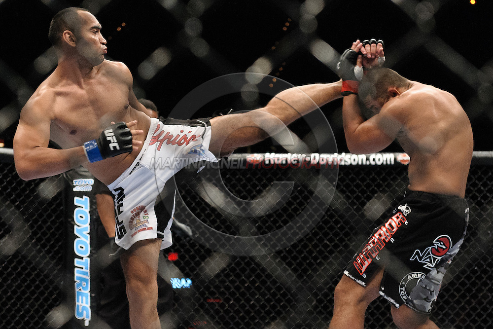 "LAS VEGAS, NEVADA, MAY 24, 2008: Antonio Mendes (left) lands a kick to the head of Thiago Silva during ""UFC 84: Ill Will"" inside the MGM Grand Garden Arena in Las Vegas"
