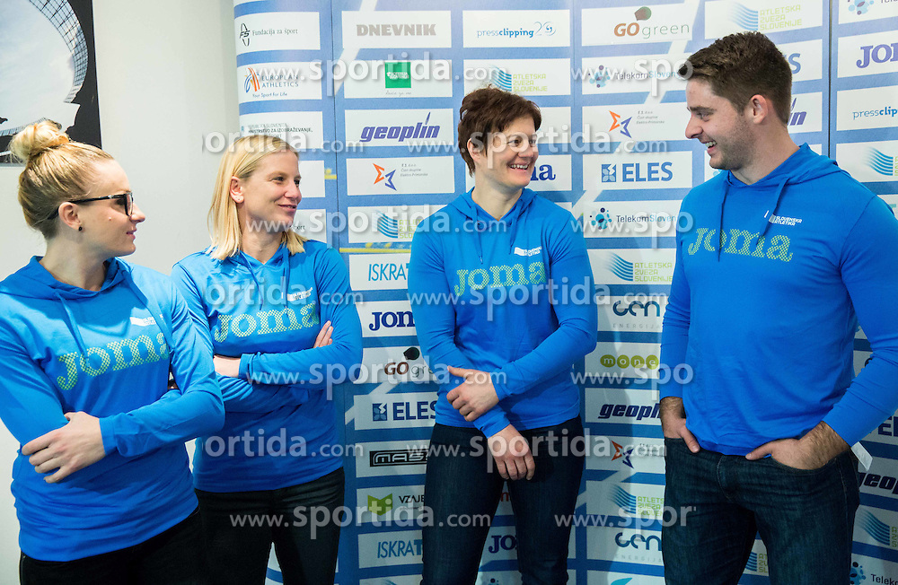 Sabina Veit, Marina Tomic, Martina Ratej and Nejc Plesko during press conference when Slovenian athletes and their coaches sign contracts with Athletic federation of Slovenia for year 2016, on February 25, 2016 in AZS, Ljubljana, Slovenia. Photo by Vid Ponikvar / Sportida