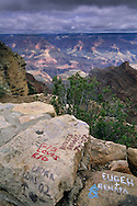Tourist graffiti on rock wall near Yaki Point, South Rim, Grand Canyon National Park, Arizona