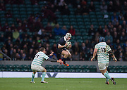 Twickenham, United Kingdom. Matt GEIGER, collects the high ball, during the 2015 Men's Varsity Match, Oxford vs Cambridge, RFU Twickenham Stadium, England.<br /> <br /> Thursday  10/12/2015<br /> <br /> [Mandatory Credit. Peter SPURRIER/Intersport Images].