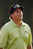 18 February 2007: Phil Mickelson reacts to missing a putt on 18th hole during the final day of the Nissan Open PGA golf tournament at the Riviera Country Club in Los Angeles, CA.