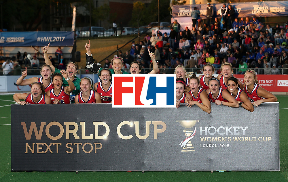 JOHANNESBURG, SOUTH AFRICA - JULY 23:  United States of America players pose after securing world cup qualification during day 9 of the FIH Hockey World League Women's Semi Finals at Wits University on July 23, 2017 in Johannesburg, South Africa.  (Photo by Jan Kruger/Getty Images for FIH)