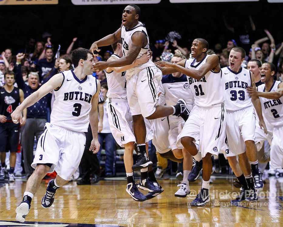 INDIANAPOLIS, IN - JANUARY 19: Roosevelt Jones #21 of the Butler Bulldogs celebrates after a last second shot against the Gonzaga Bulldogs at Hinkle Fieldhouse on January 19, 2013 in Indianapolis, Indiana. Butler defeated Gonzaga 64-63. (Photo by Michael Hickey/Getty Images) *** Local Caption *** Roosevelt Jones